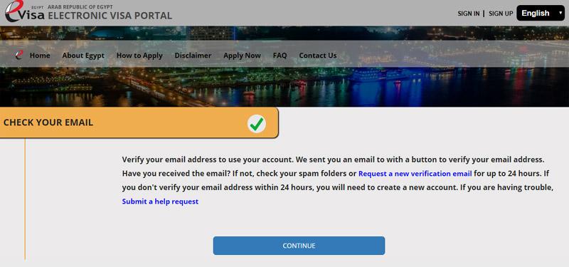 Wiza do Egiptu - weryfikacja email