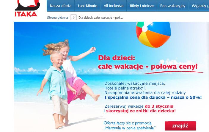 Itaka - promocja dzieci 50 procent
