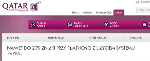 Qatar Airways promocja Pay Pal