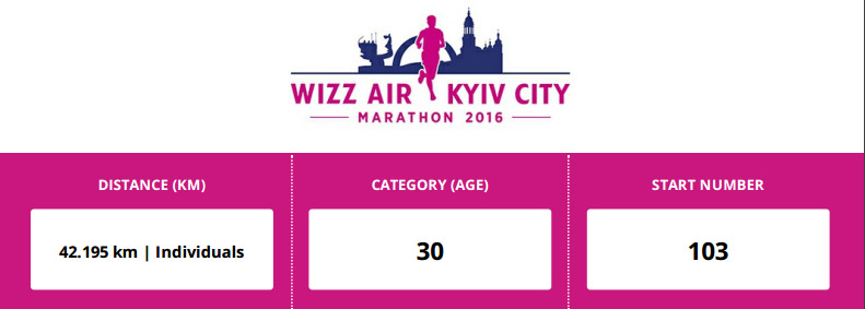 Kijów Maraton - numer startowy